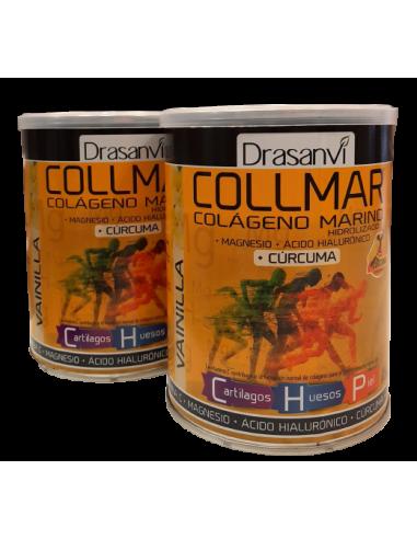 Collmar Pack (2 uds.) Colageno Marino con Curcuma-sabor Vainilla-300 gr-Drasanvi